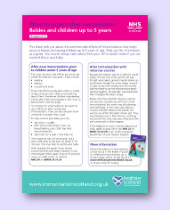 what the expect after immunisation scotland: babies and young children